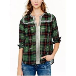J. Crew Plaid Embroidered Peasant Blouse size 10